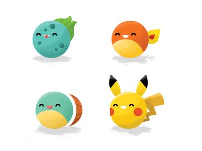 Starter print editorial brush painting digital icon pikachu bulbasaur charmander squirtle illustration pokemon