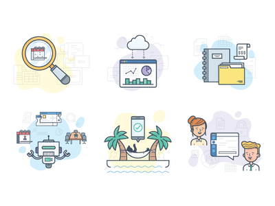 What We Do  character organise search data bot relax paradise work icon line blink illustration