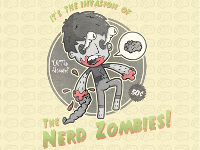 Zombie Wallet zombie movie poster grey old vicbell green vector illustrator photoshop nerd brain guts invasion illustration yellow blood distress boreal cutout coupon