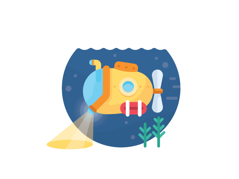Searching Sub under sea explore adventure search deep ocean submarine illustration