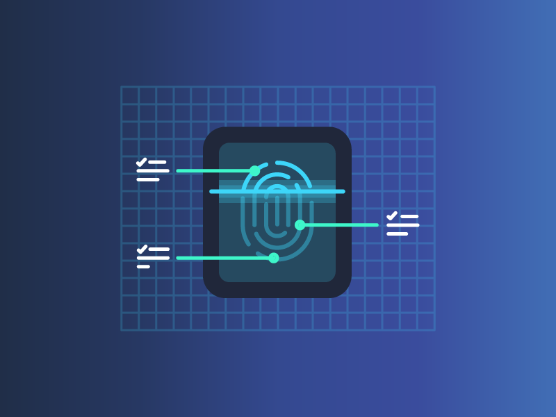 Verify identity confirm verify scan print finger line illustration