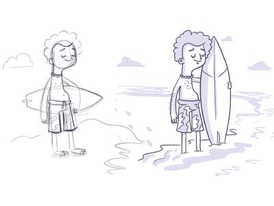 Surfer cintiq drawn hand surfer character illustration