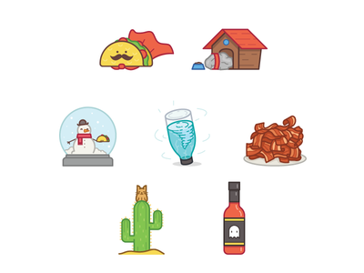 HeyTaco! Rewards reward illustration cactus sauce bacon tornado globe snow food mexican taco chilli