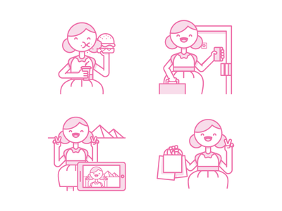 Eat Stay See Shop shopping travel visit hotel sleep shop see eat character illustration