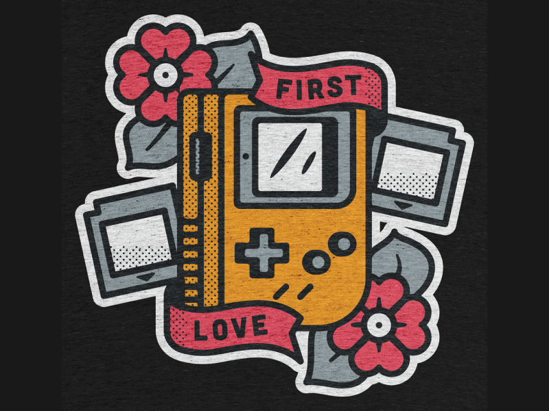First Love On Cotton Bureau gamer retro gaming shirt t tshirt buy nintendo gameboy illustration design tee