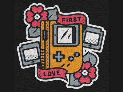 First Love On Cotton Bureau gamer retro gaming shirt t tshirt buy nintendo gameboy illustration design tee