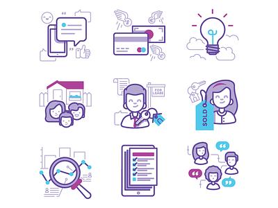 Managed Icons icon illustration communication sold data key tenant owner management property managed
