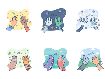 High Five's for 15Five support peer fun alien space animal caveman sea brand illustration five high
