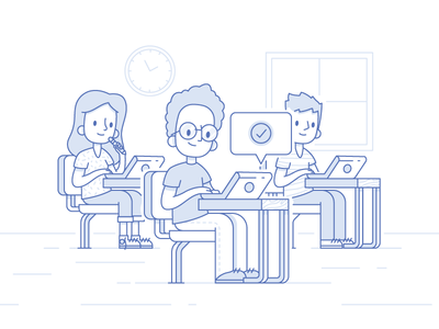 Classroom Working working laptop college study school classroom class character illustration
