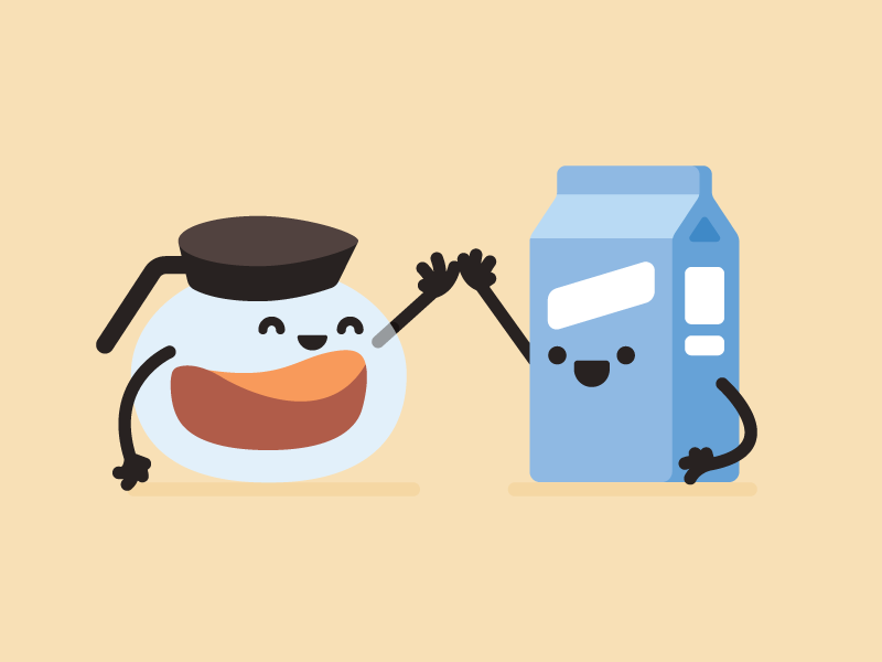 Morning Mates spot milk coffee happy fun illustration five high
