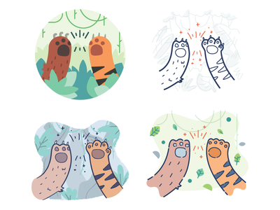 High Five Styling bear tiger jungle support peer fun animal illustration five high