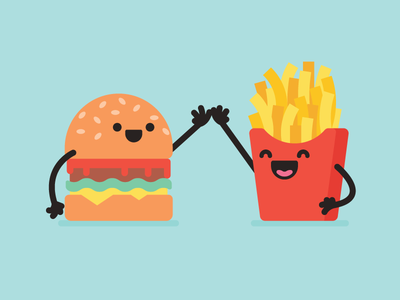 Fast Food fun high five icon fast food fries burger take out food illustration five high