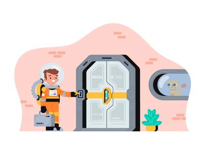 Home From Work key pet cat astronaut space door city