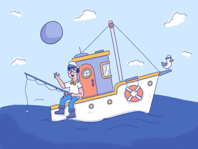 Sneaky Peek ocean sea boat brand jack with vector character illustration