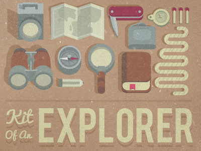 Explorer kit map hip flask silver illustration binoculars book rope explorer yellow vector compass knife magnifying glass red grey vicbell torch clock watch match pencil photoshop texture