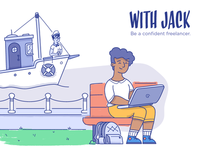 Be a Confident Freelancer brush texture illustration insurance with jack
