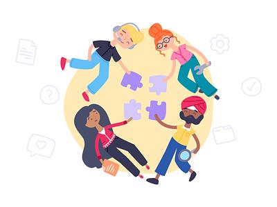 Teamwork: Desk support project chat desk character illustration