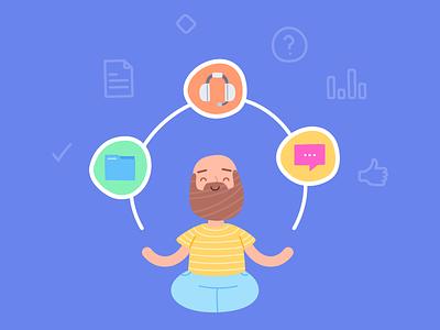 Super Zen Teamwork User product relax chill zen branding character illustration