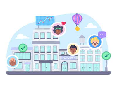 Teamwork stats data user city design vector branding icon character illustration