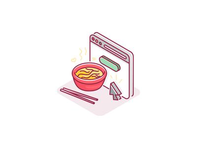 Order Online exploration style food online order illustration