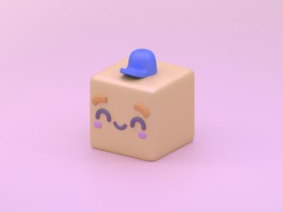 Cube Fella character cube 3d blender illustration