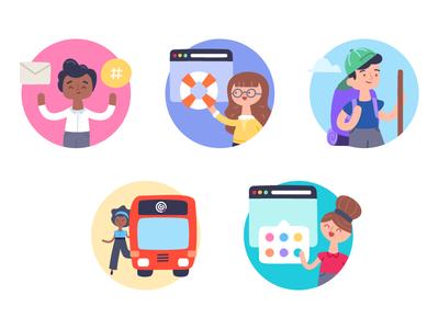 TW Spot Illustrations spot app channel help site adventure tour color illustration character teamwork