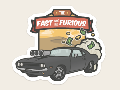 The Fast and Furious Badge car dodge charger fast furious icon illustration vector money banner badge