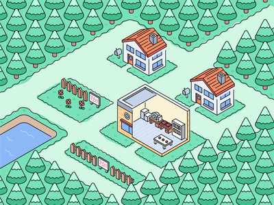 Pallet 3d iso isometric game vicbell vector illustration pokemon