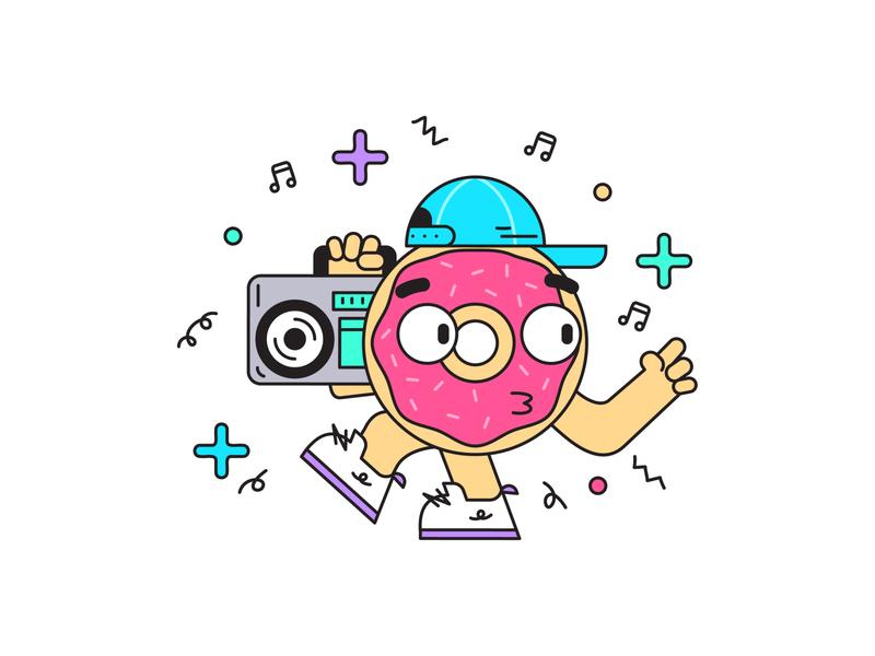 Boom dancing illustration boombox box boom donut