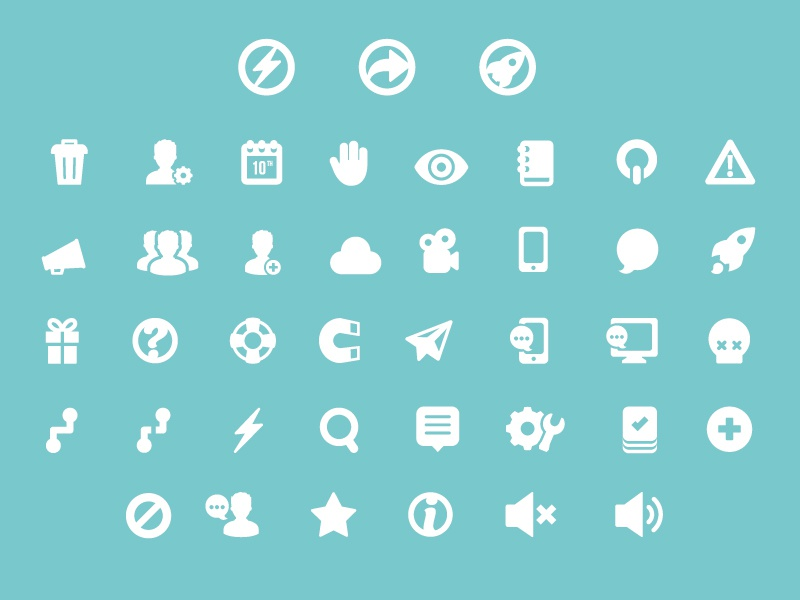 And Bang! Icon Development  icon web vector rocket camera clous skull eye trash mute sound mail magnet help