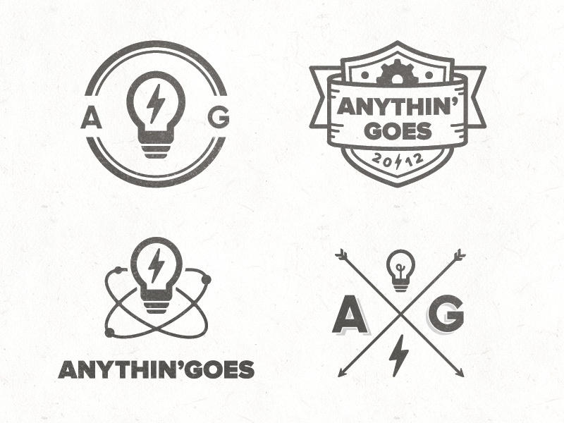 Anythin' Goes Concepts concept logo marque mark light bulb anythin goes cog badge arrow bolt thunder lightening element