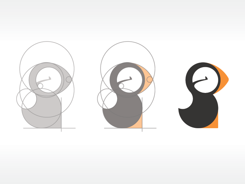 Puffin print editorial logo process measure circle puffin vector illustration mark design idea concept