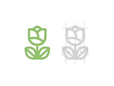 Flower flower logo idea concept break down vector illustration tulip leaf green