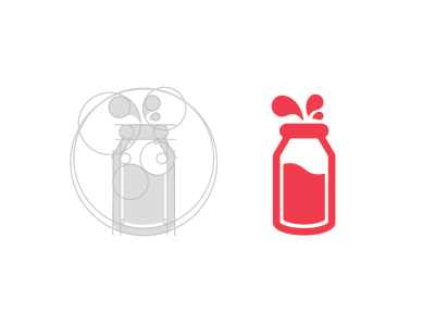 Milk Bottle bottle splat drips guide geometric milk as simple animal farm cow illustration vector mark icon logo