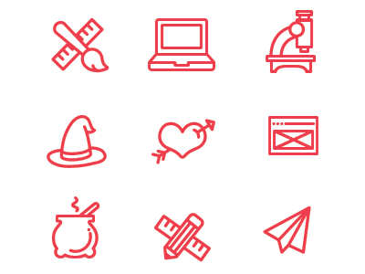 SaM Icons  icons rule laptop ux research email paper plane hat merlin pencil microscope heart