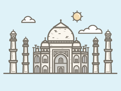 Taj Mahal taj mahal seven wonders 7 of the world illustration vector