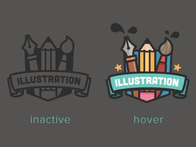 Illustration Badge illustration badge pencil brush pen illustrator vector icon inactive hover splash star ui design