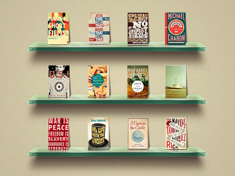 Glass Shelves Mockup Shelf Transparent Books Wall Book Covers Bookshelf