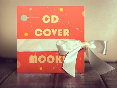 Cd Cover Mockup cd mockup psd vector cd cover cd cover design ribbon wood texture disc disc cover label