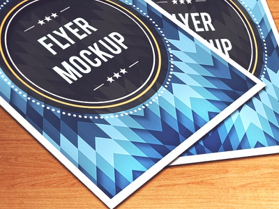 Flyer PSD Mockup flyer poster mockup psd flyer mockup wood badge pattern flyer template