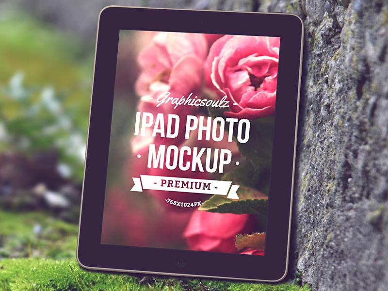 iPad Photo Mockup ipad ipad mockup tablet wood grass rock mockup psd ipad psd psd mockup