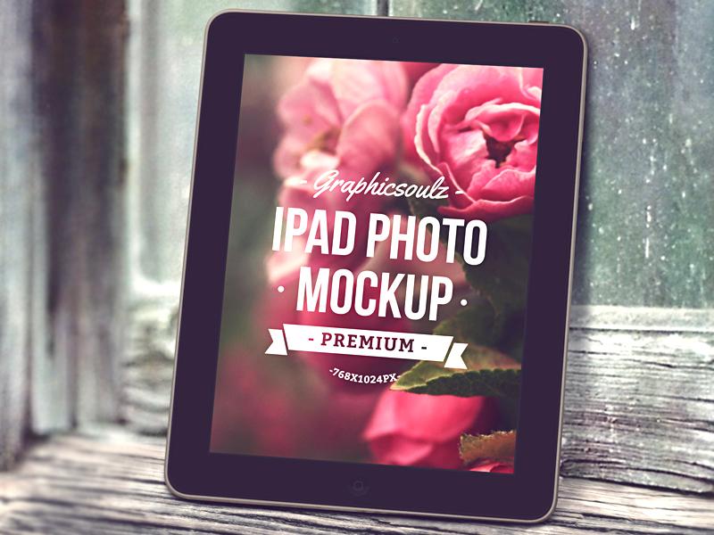 iPad Photo Mockup mockup ipad ribbon label wood psd ipad mockup tablet psd mockup logo