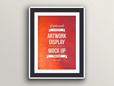 Artwork Display Mockup frame mockup freebie poster mockup psd wall frame free frame mockup typography ribbon
