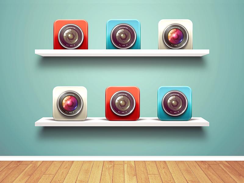 Shelves Mockup Wood Icon Design App Camera Vector Shelf Bookshelf Metal Psd