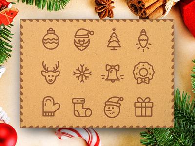 Outline Christmas Icons – Vol.1 christmas christmas icons christmas stroke icons outline christmas icons stroke line icons icons santa greeting card