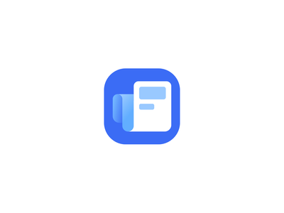 News Feed App Icon article blue newspaper news feed rss newsletter gradient curve icon appstore app newsfeed news
