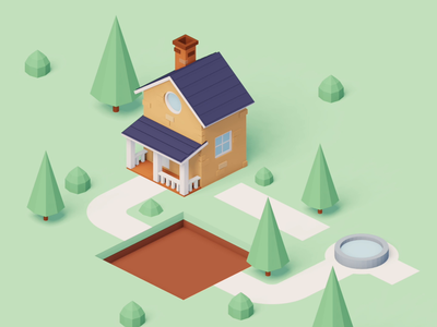 Stay at Home 🔈 stay safe illustration woods house home walk cycle lowpoly 3d blender quarantine virus corona covid19 stayhome