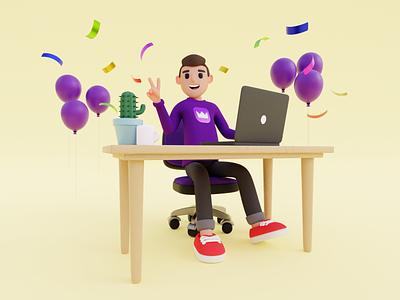 Celebration! 3d 3dart blender3d laptop illustration mugs mac man cactus ballon confetti finance 3d modeling design