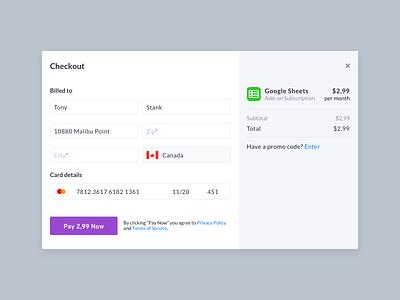 Checkout Modal address billing canada subscription promo code google sheet google addons pay form credit card checkout form checkout