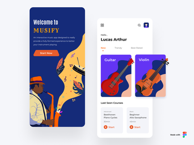 Musify app instruments clean knowledge learning illustration card learning app music ux user interface user experience ui mobile minimal interface design app